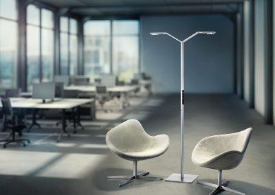 CGI Loftbüro mit zwei Sesseln und Stehlechte Luctra