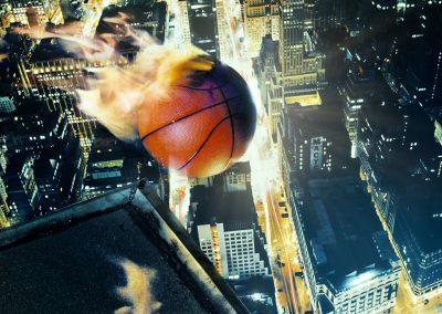 CGI brennender Basketball